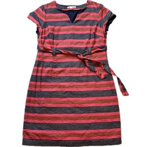 Boden Linen Striped Dress w/ Draw string waist 18L
